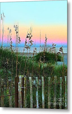 Topsail Island Dunes And Sand Fence Metal Print by Julie Dant