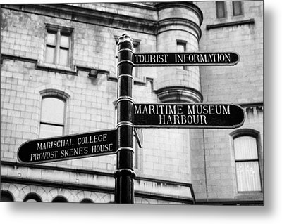 Tourist Information Signs Directions Street Aberdeen Scotland Uk Metal Print by Joe Fox