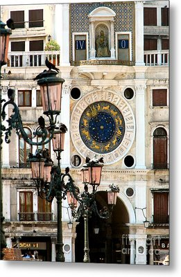 Tower Clock In Saint Mark's Square Metal Print by Susan Holsan