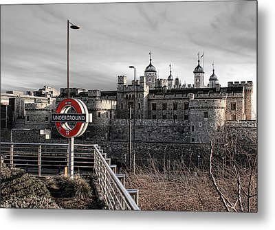 Tower Of London With Tube Sign Metal Print by Jasna Buncic
