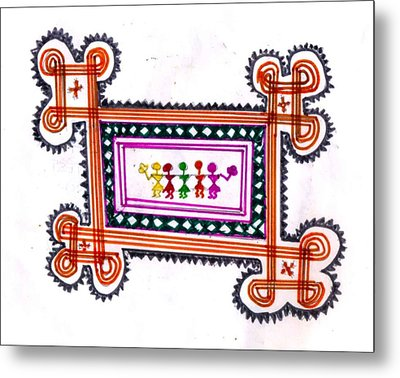 Tradition Art-aunties In Rangoli Metal Print by Poornima M