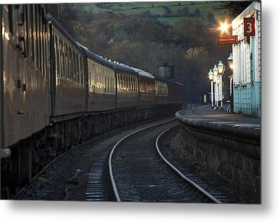 Train At Station At Dusk, Pickering Metal Print by John Short