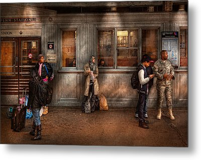 Train - Station - Waiting For The Next Train Metal Print by Mike Savad