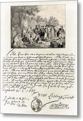 Treaty Between William Penn Metal Print by Photo Researchers