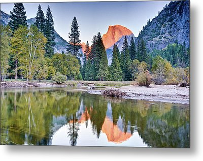 Trees And Mountain Reflection In River Metal Print by Inspirational Images by Ken Hornbrook