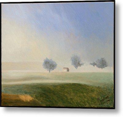 Trees In The Mist Metal Print by Gloria Cigolini-DePietro