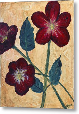 Tres Fleurs Metal Print by Maureen House