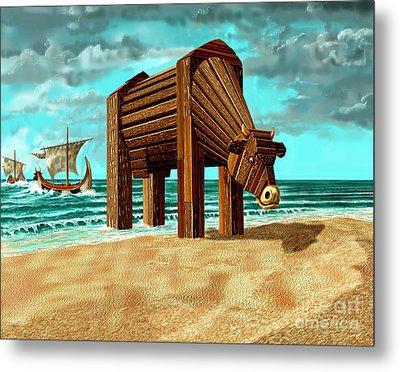 Trojan Cow Metal Print by Russell Kightley