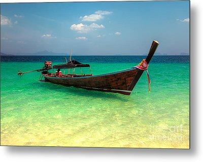 Tropical Boat Metal Print by Adrian Evans