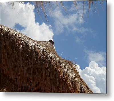 Tropical Straw Umbrella Metal Print by Kimberly Perry