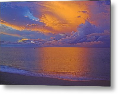 Tropical Sunset-2- St Lucia Metal Print by Chester Williams