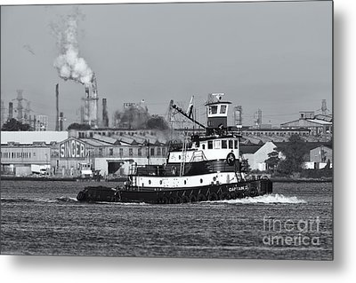 Tugboat Captain D In Newark Bay II Metal Print by Clarence Holmes