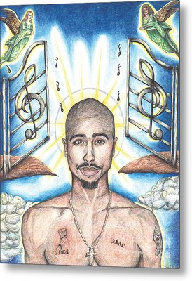 Tupac In Heaven Metal Print by Debbie DeWitt