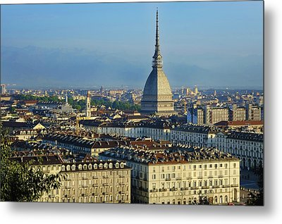 Turin, Cityscape With The Mole Antonelliana Metal Print by Bruno Morandi