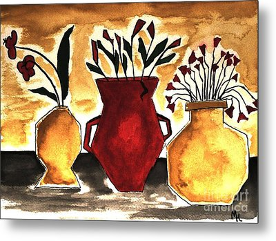Tuscan Pottery With Flowers Ll Metal Print by Marsha Heiken