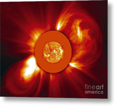 Two Coronal Mass Ejections Metal Print by Solar & Heliospheric Observatory consortium (ESA & NASA)