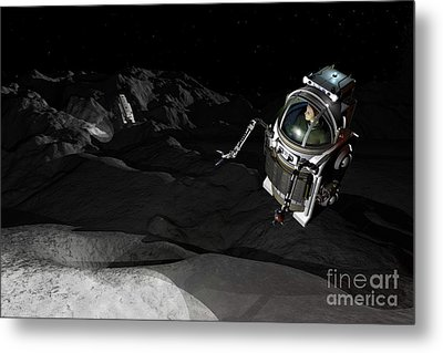 Two Manned Maneuvering Vehicles Explore Metal Print by Walter Myers