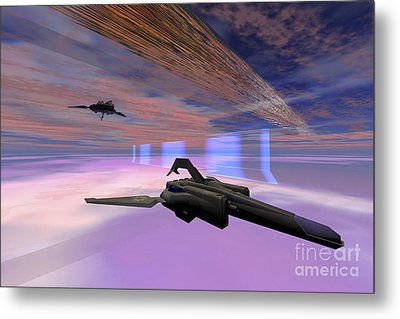 Two Starships Warp Along Space Enegy Metal Print by Corey Ford