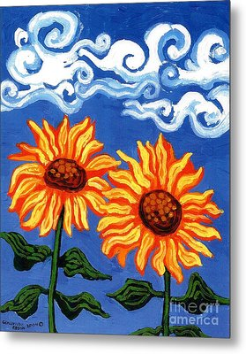 Two Sunflowers Metal Print by Genevieve Esson