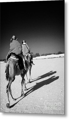 two tourists on camels return to base in the sahara desert at Douz Tunisia Metal Print by Joe Fox