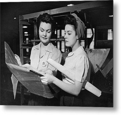 Two Women In Workshop Looking At Blueprints, (b&w) Metal Print by George Marks