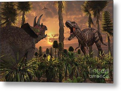 Tyrannosaurus Rex And Triceratops Meet Metal Print by Mark Stevenson