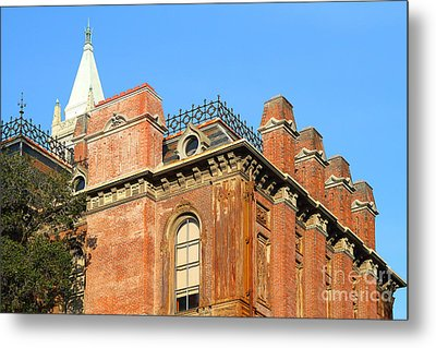 Uc Berkeley . South Hall . Oldest Building At Uc Berkeley . Built 1873 . The Campanile In The Backgr Metal Print by Wingsdomain Art and Photography