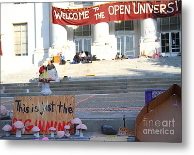 Uc Berkeley . Sproul Hall . Sproul Plaza . Occupy Uc Berkeley . The Is Just The Beginning . 7d10018 Metal Print by Wingsdomain Art and Photography