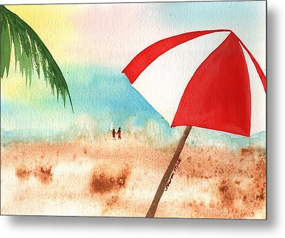 Umbrella On The Beach Metal Print by Sharon Mick