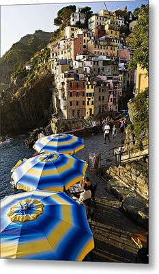 Umbrellas Of Riomagiorre Metal Print by  Samdobrow  Photography