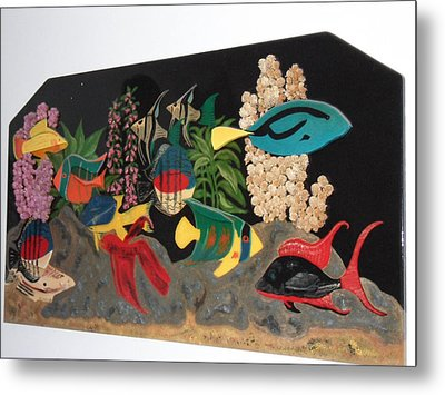 Under The Water In Wood Metal Print by Val Oconnor