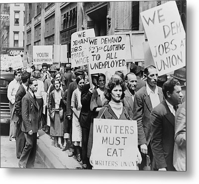 Unemployed New Yorkers Demonstrate Metal Print by Everett
