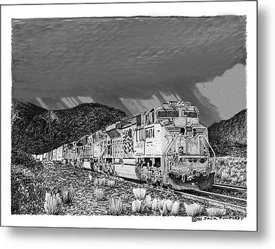 Union Pacific Diesels And Monsoon Metal Print by Jack Pumphrey