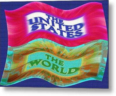 United States - The World - Flag Unfurled Metal Print by Steve Ohlsen