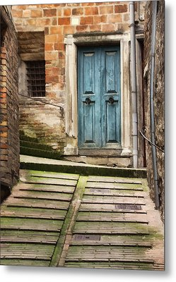 Urbino Door And Stairs Metal Print by Sharon Foster