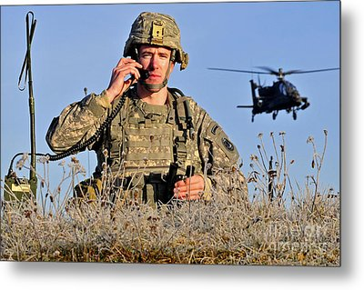 U.s. Army Captain Directs An Ah-64 Metal Print by Stocktrek Images