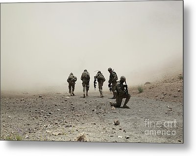 U.s. Army Captain Provides Security Metal Print by Stocktrek Images
