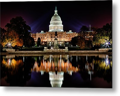 Us Capitol Building And Reflecting Pool At Fall Night 2 Metal Print by Val Black Russian Tourchin