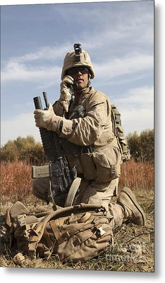 U.s. Marine Communicates Metal Print by Stocktrek Images