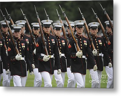 U.s. Marines March By During The Pass Metal Print by Stocktrek Images