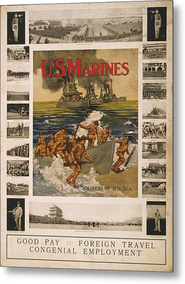 U.s. Marines Recruitment Poster Showing Metal Print by Everett