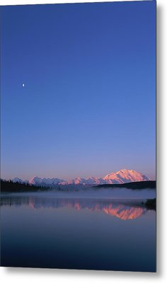 Usa, Alaska, Mount Mckinley As Seen From Wonder Lake After Sunrise Metal Print by Paul Souders