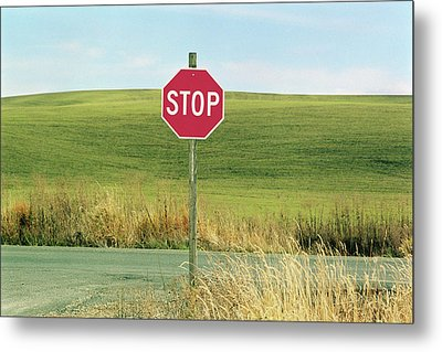 Usa, Washington, Palouse, Stop Sign On Country Road Metal Print by Mel Curtis