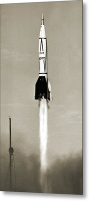 V-2 Rocket Launch In Usa Metal Print by Detlev Van Ravenswaay