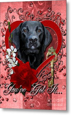Valentines - Key To My Heart Labrador Metal Print by Renae Laughner