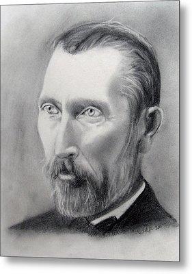 Van Gogh Pencil Portrait Metal Print by Andrea Realpe