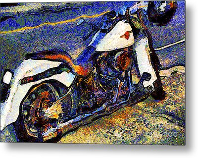 Van Gogh.s Harley-davidson 7d12757 Metal Print by Wingsdomain Art and Photography
