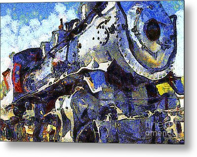 Van Gogh.s Steam Locomotive . 7d12980 Metal Print by Wingsdomain Art and Photography