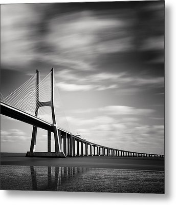 Vasco Da Gama Bridge IIi Metal Print by Nina Papiorek