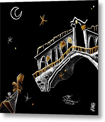 Venice Art T-shirt Design Rialto Nacasona Fashion Line - Arte Disegno Maglietta Venezia Italia Metal Print by Arte Venezia